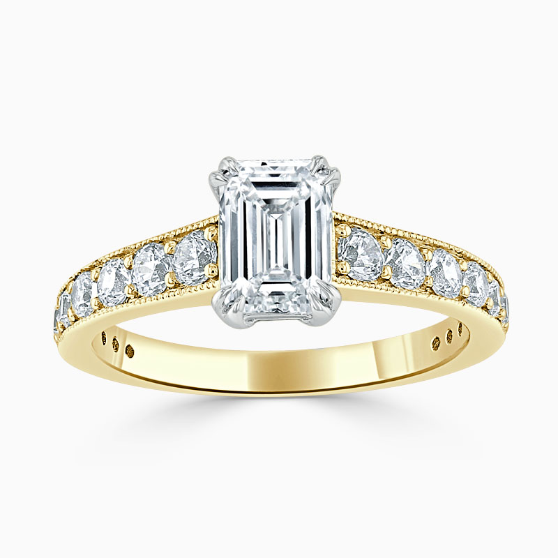 18ct Yellow Gold Emerald Cut Milgrain Pavé Engagement Ring