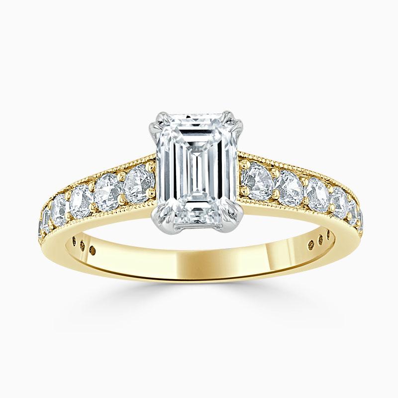 18ct Yellow Gold Emerald Cut Milgrain Pavé Engagement Ring