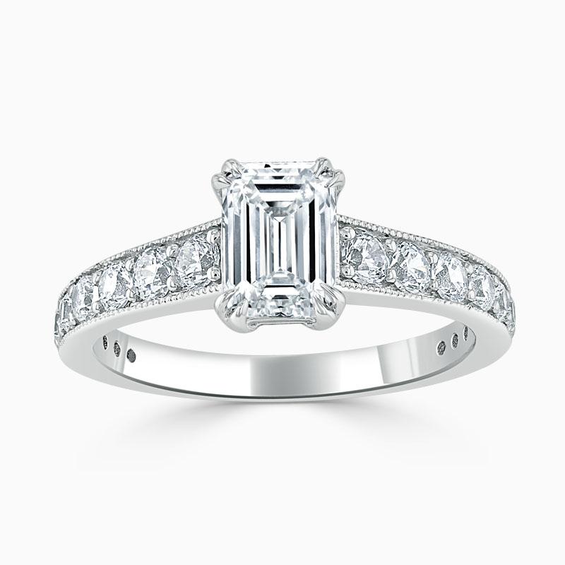 Platinum Emerald Cut Milgrain Pavé Engagement Ring