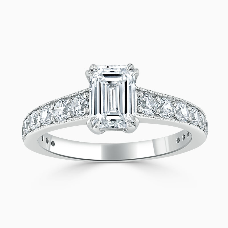 Platinum Emerald Cut Milgrain Pavé Engagement Ring