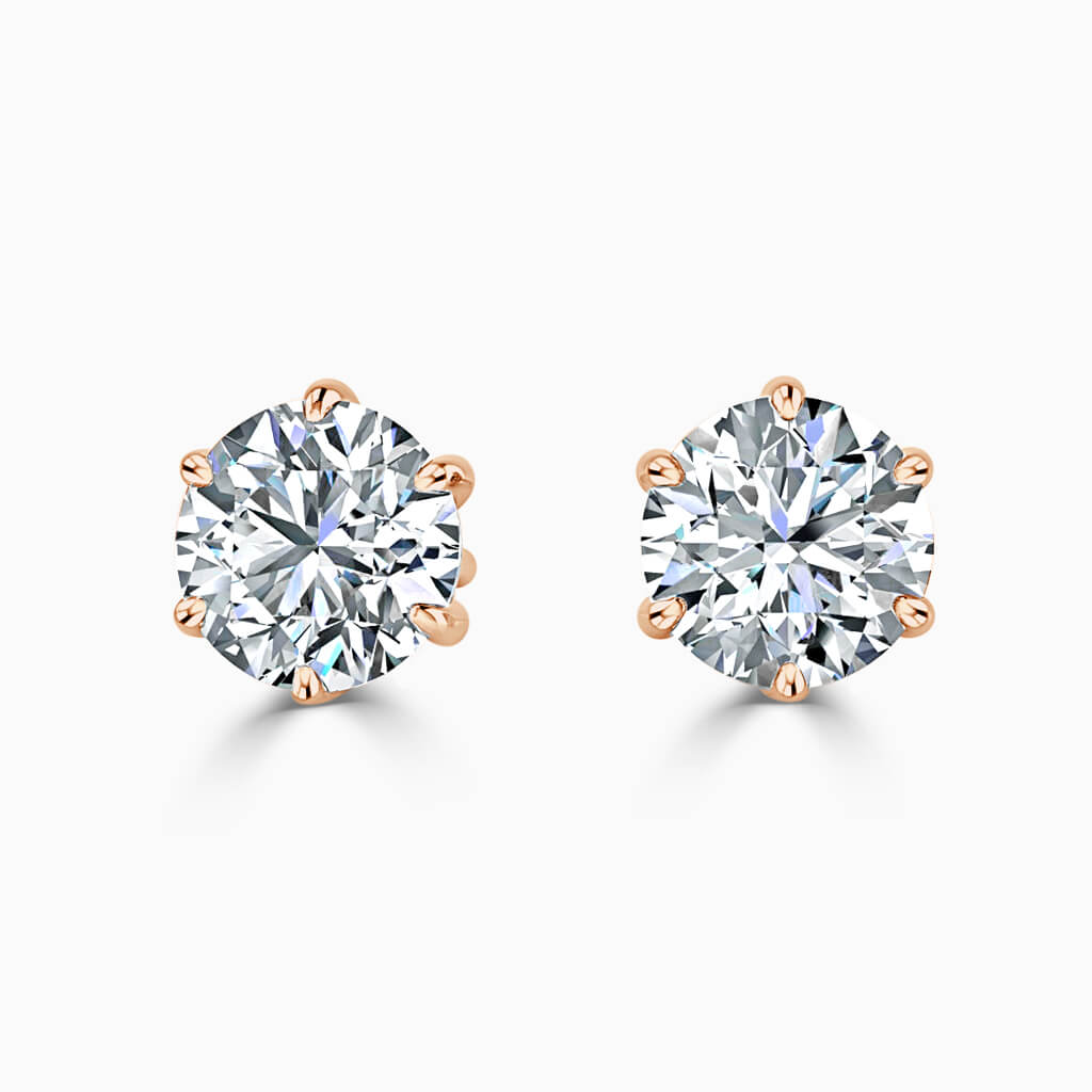 18ct Rose Gold Round Brilliant 6 Claw Stud Diamond Earrings