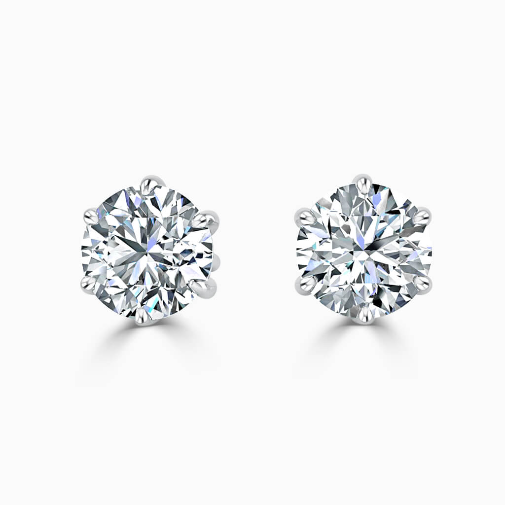 18ct White Gold Round Brilliant 6 Claw Stud Diamond Earrings