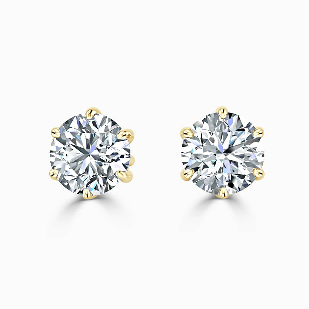 18ct Yellow Gold Round Brilliant 6 Claw Stud Diamond Earrings