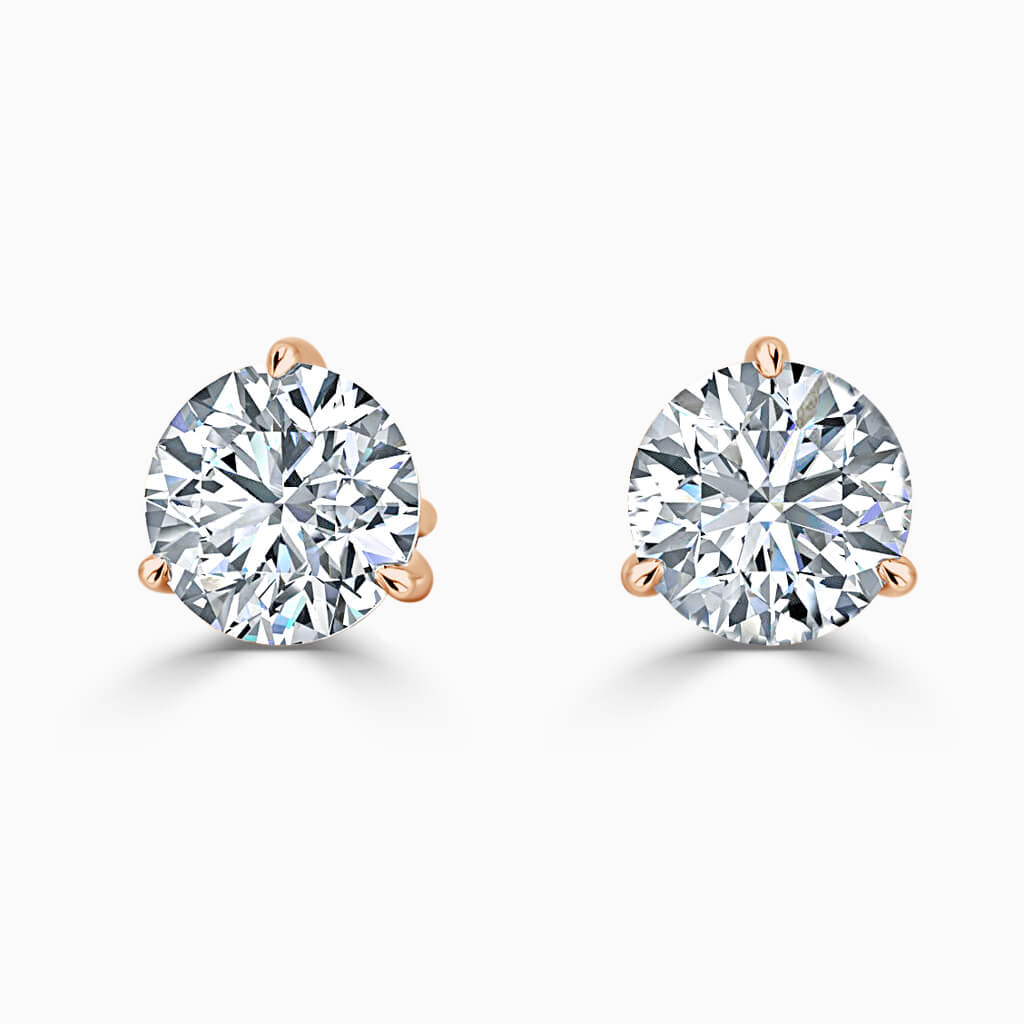 18ct Rose Gold Round Brilliant 3 Claw Stud Diamond Earrings