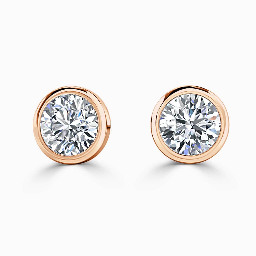 18ct Rose Gold Round Brilliant Rubover Stud Diamond Earrings