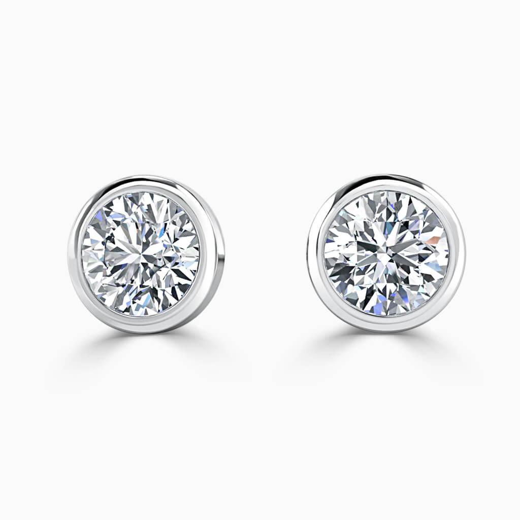 18ct White Gold Round Brilliant Rubover Stud Diamond Earrings