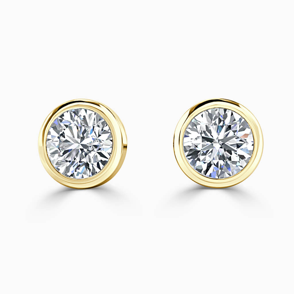 18ct Yellow Gold Round Brilliant Rubover Stud Diamond Earrings