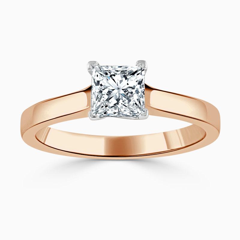 18ct Rose Gold Princess Cut Openset Engagement Ring