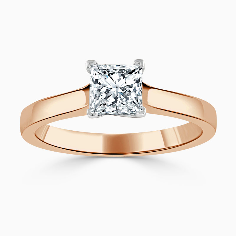 18ct Rose Gold Princess Cut Openset Engagement Ring