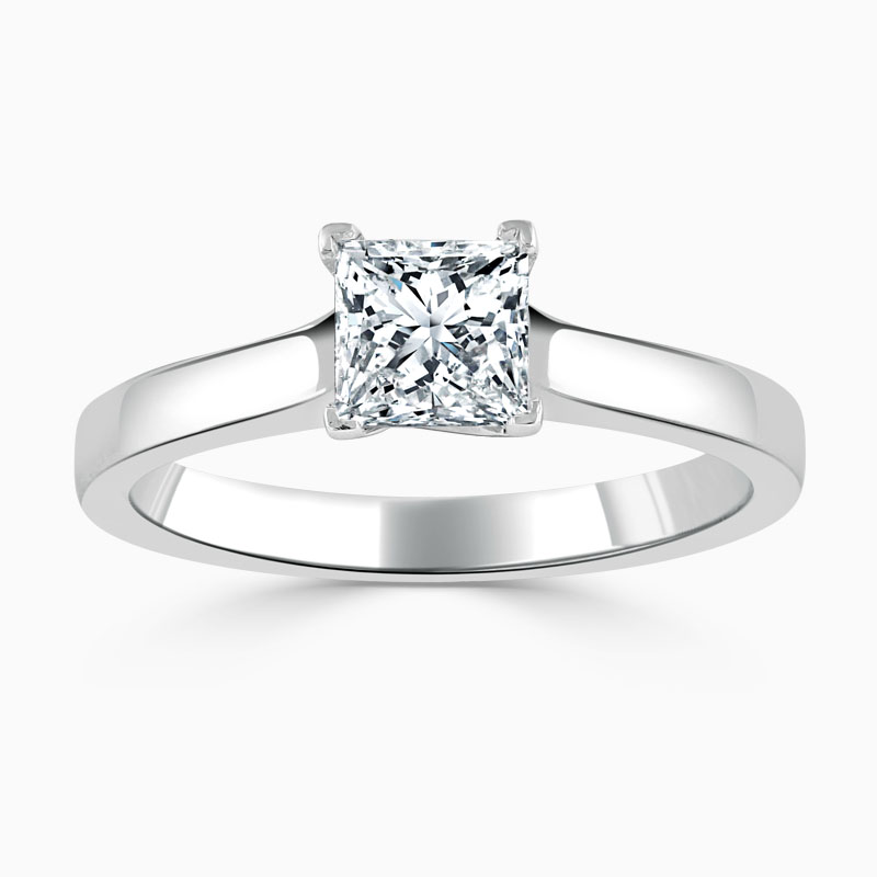 18ct White Gold Princess Cut Openset Engagement Ring