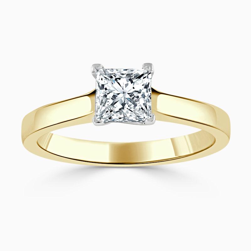 18ct Yellow Gold Princess Cut Openset Engagement Ring