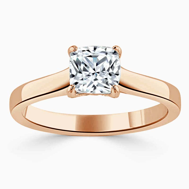 18ct Rose Gold Cushion Cut Openset Engagement Ring