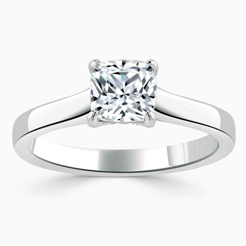 18ct White Gold Cushion Cut Openset Engagement Ring