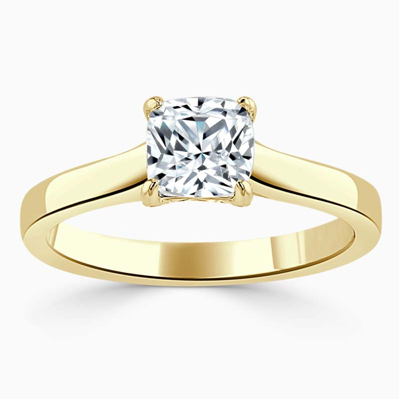 18ct Yellow Gold Cushion Cut Openset Engagement Ring