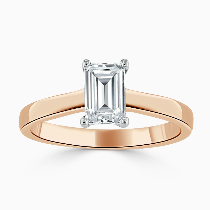 18ct Rose Gold Emerald Cut Openset Engagement Ring