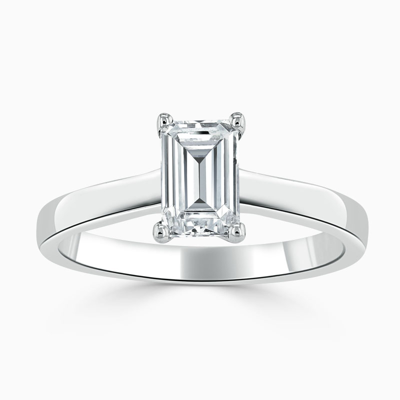 18ct White Gold Emerald Cut Openset Engagement Ring