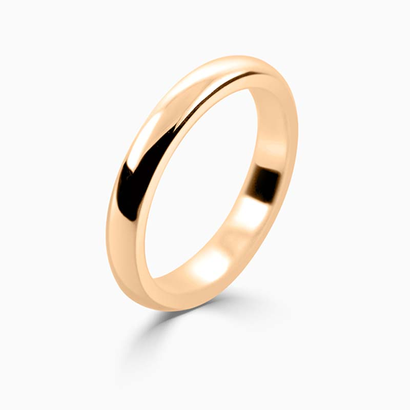 18ct Rose Gold 3mm D Shape Heavy Weight Wedding Ring