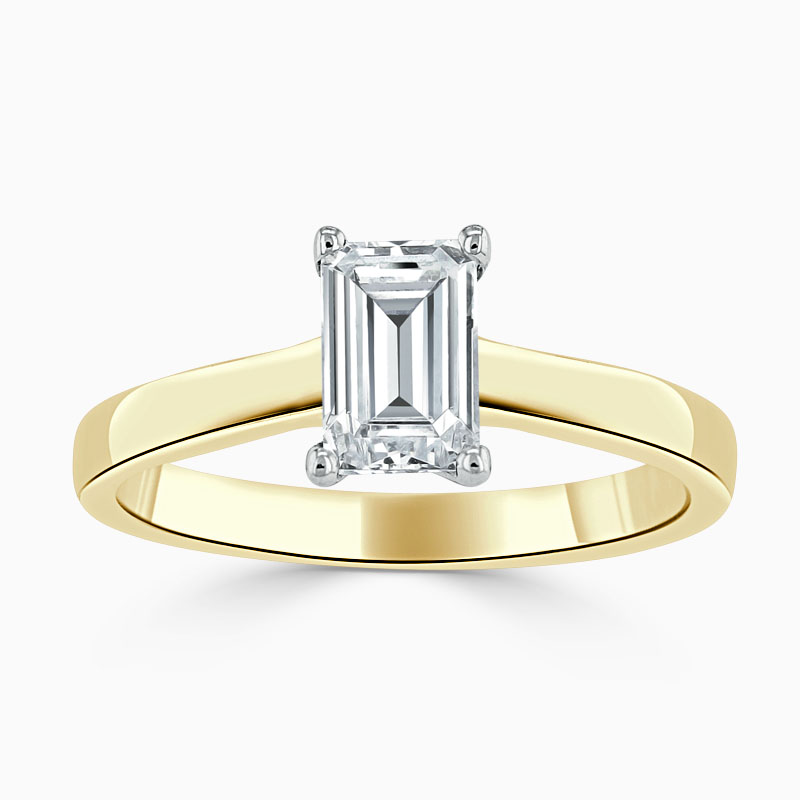 18ct Yellow Gold Emerald Cut Openset Engagement Ring