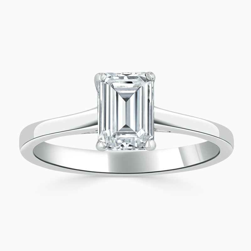 Platinum Emerald Cut Openset Engagement Ring