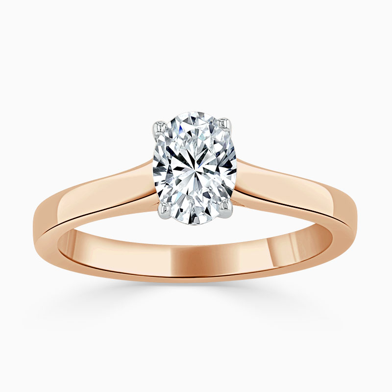 18ct Rose Gold Oval Shape Openset Engagement Ring