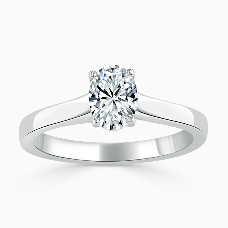 Platinum Oval Shape Openset Engagement Ring