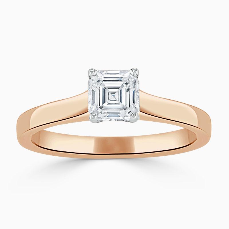 18ct Rose Gold Asscher Cut Openset Engagement Ring