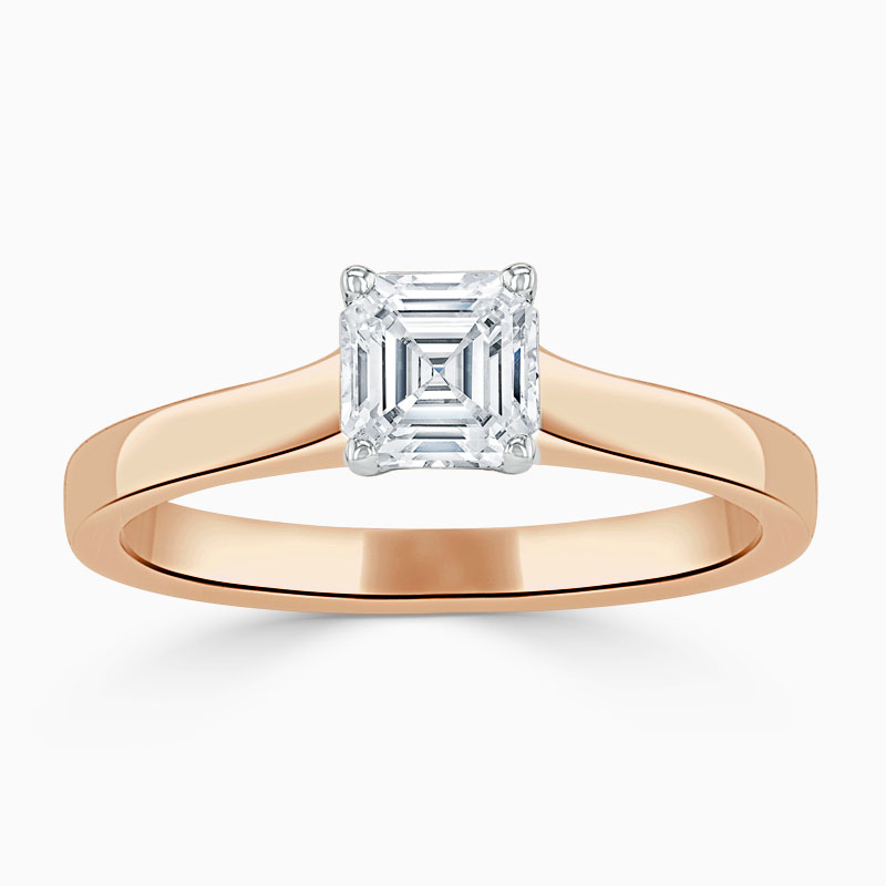 18ct Rose Gold Asscher Cut Openset Engagement Ring