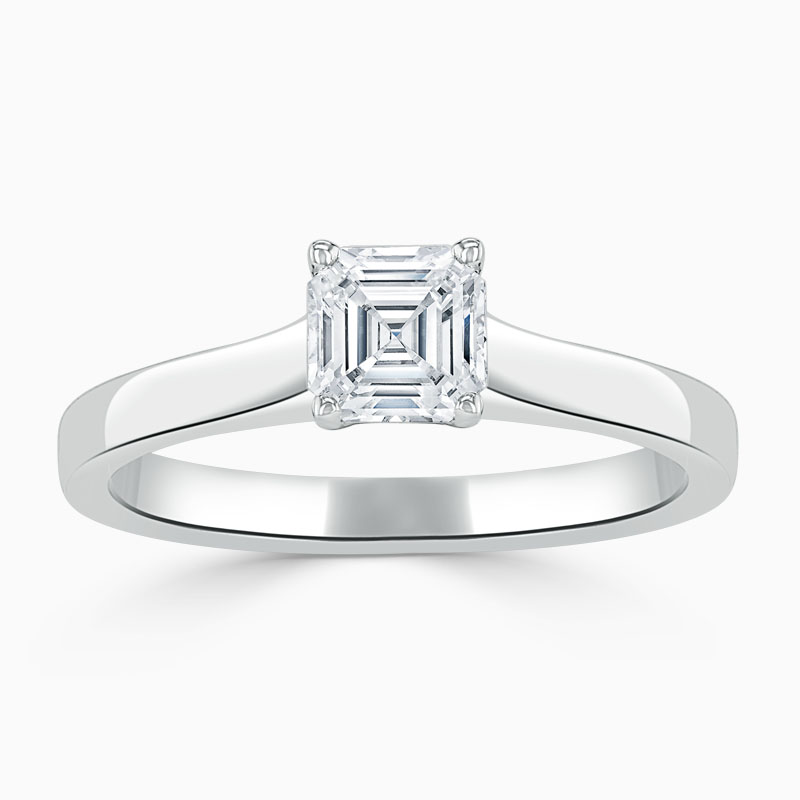 18ct White Gold Asscher Cut Openset Engagement Ring