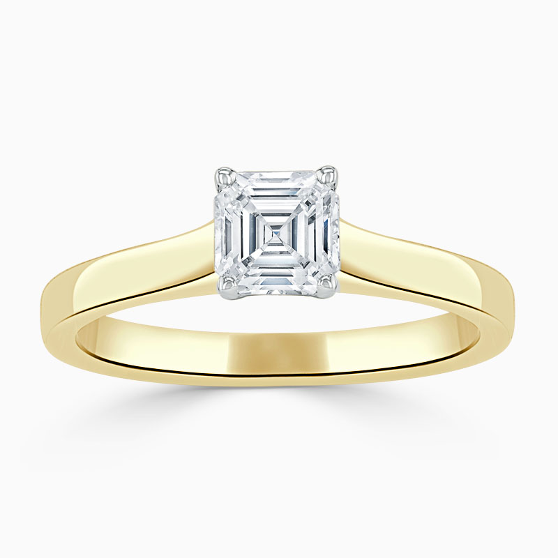 18ct Yellow Gold Asscher Cut Openset Engagement Ring
