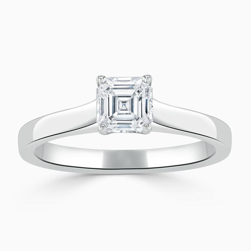 Platinum Asscher Cut Openset Engagement Ring