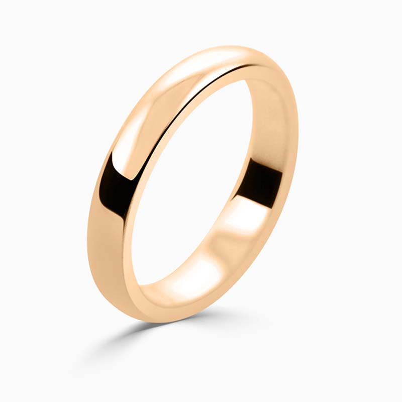 18ct Rose Gold 3mm D Shape Medium Weight Wedding Ring