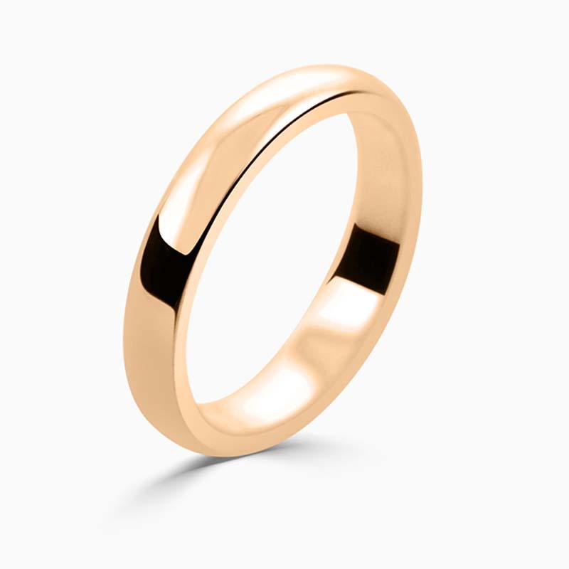 18ct Rose Gold 3mm D Shape Medium Weight Wedding Ring