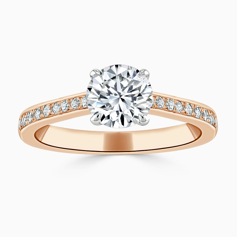 18ct Rose Gold Round Brilliant Openset Pavé Engagement Ring