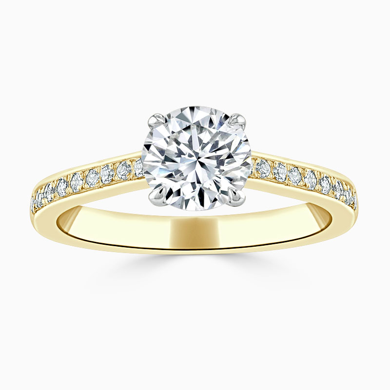 18ct Yellow Gold Round Brilliant Openset Pavé Engagement Ring