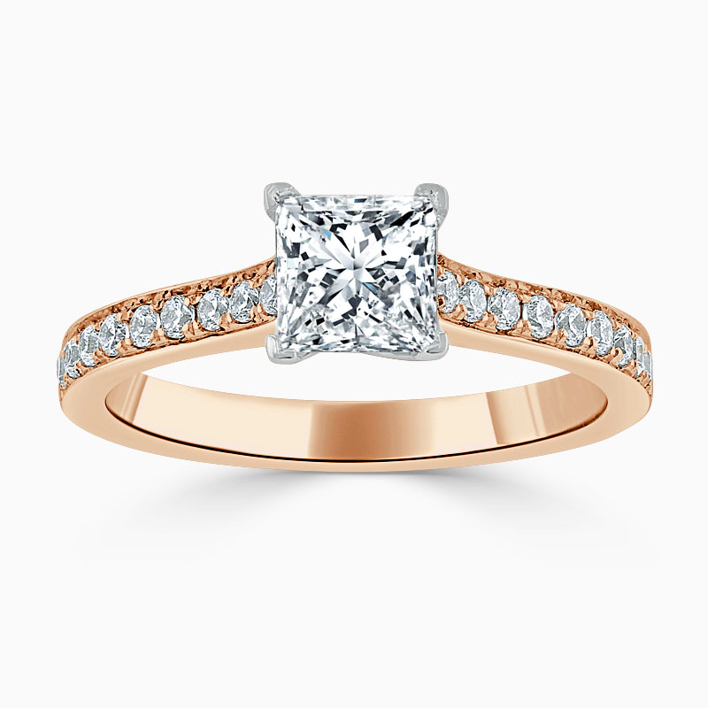 18ct Rose Gold Princess Cut Openset Pavé Engagement Ring
