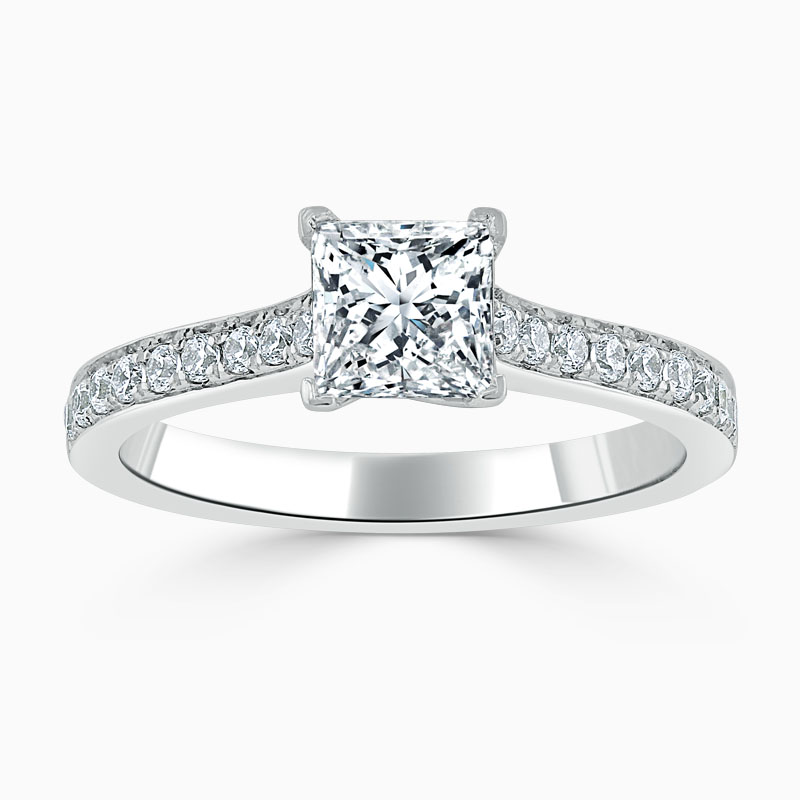 18ct White Gold Princess Cut Openset Pavé Engagement Ring