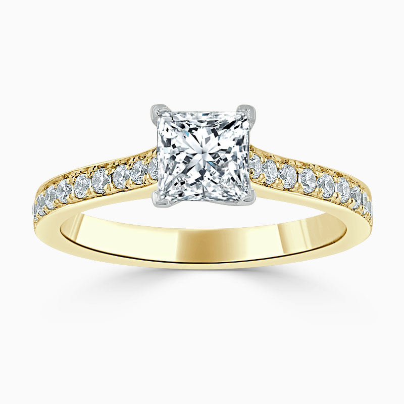 18ct Yellow Gold Princess Cut Openset Pavé Engagement Ring