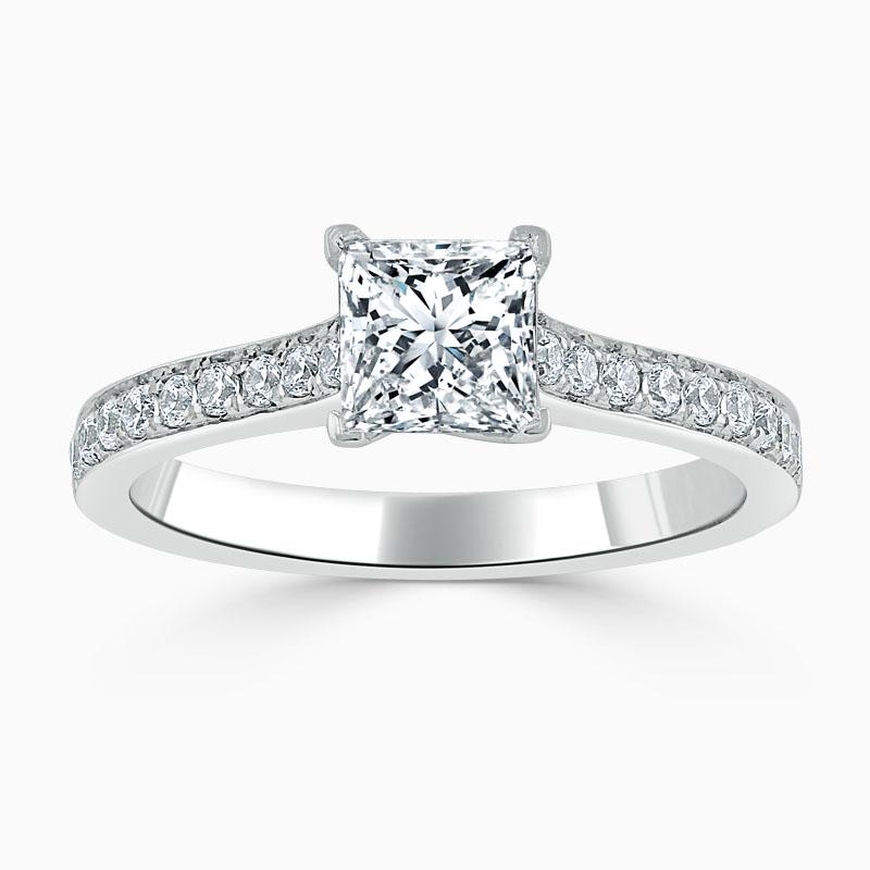 Platinum Princess Cut Openset Pavé Engagement Ring