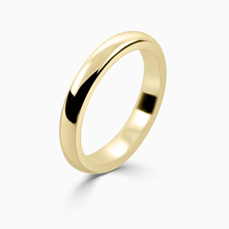 18ct Yellow Gold 3mm D Shape Heavy Weight Wedding Ring
