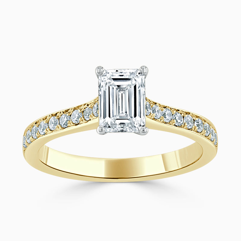 18ct Yellow Gold Emerald Cut Openset Pavé Engagement Ring