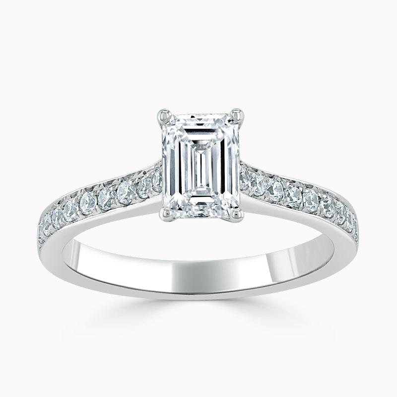 Platinum Emerald Cut Openset Pavé Engagement Ring