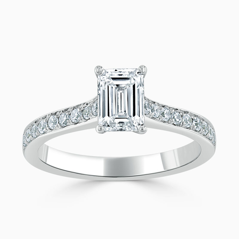 Platinum Emerald Cut Openset Pavé Engagement Ring