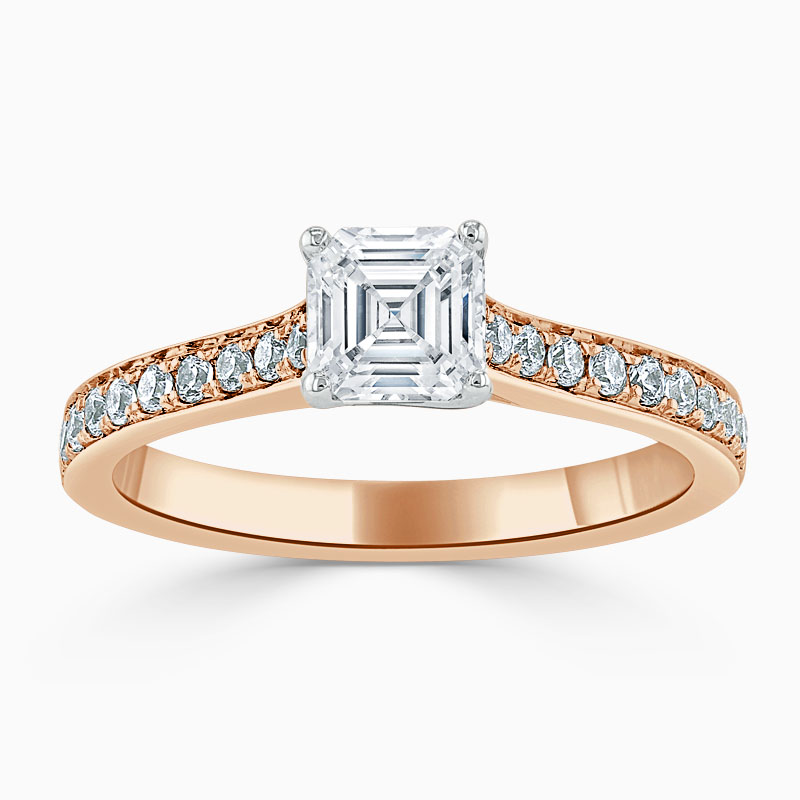 18ct Rose Gold Asscher Cut Openset Pavé Engagement Ring