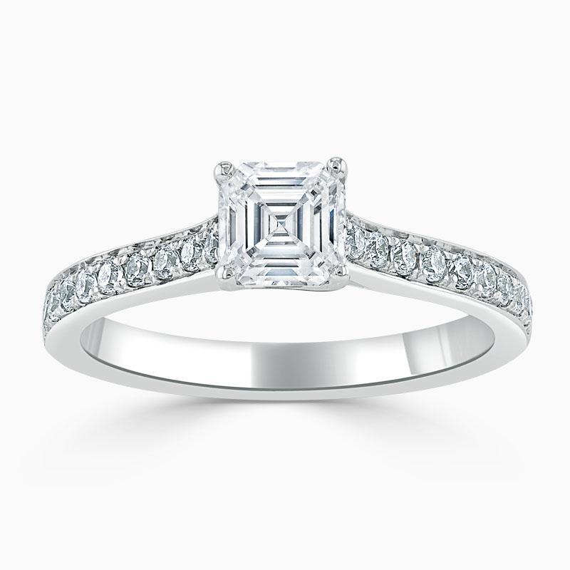 18ct White Gold Asscher Cut Openset Pavé Engagement Ring