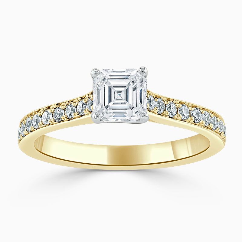 18ct Yellow Gold Asscher Cut Openset Pavé Engagement Ring