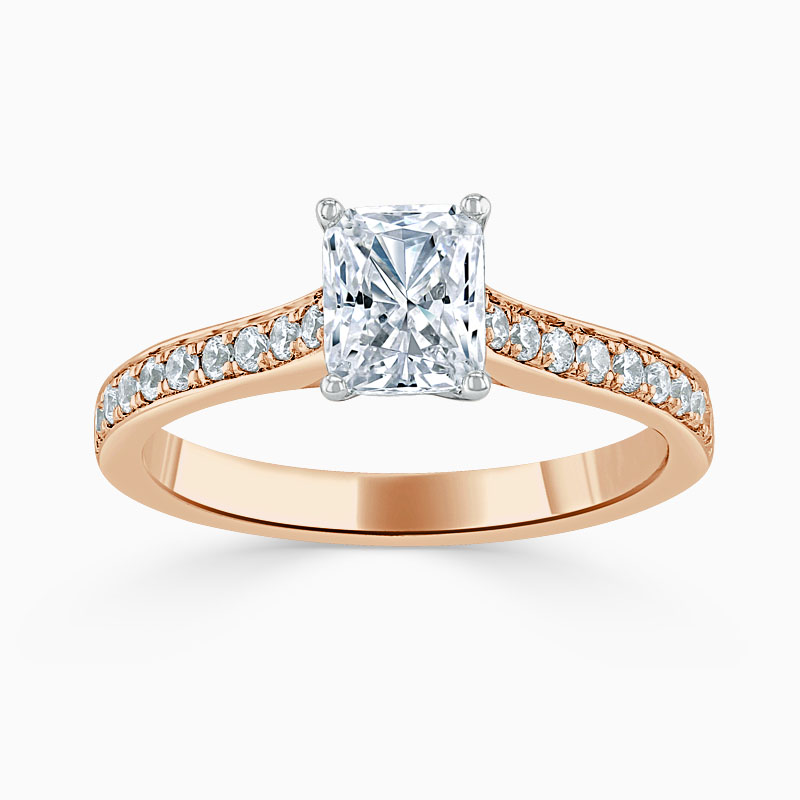 18ct Rose Gold Radiant Cut Openset Pavé Engagement Ring