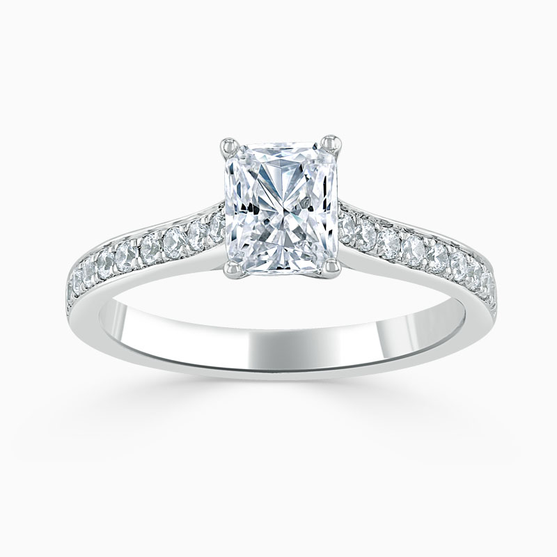 18ct White Gold Radiant Cut Openset Pavé Engagement Ring