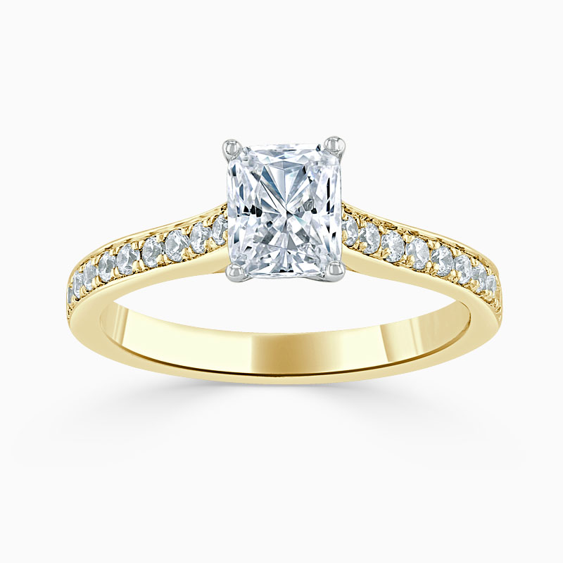 18ct Yellow Gold Radiant Cut Openset Pavé Engagement Ring