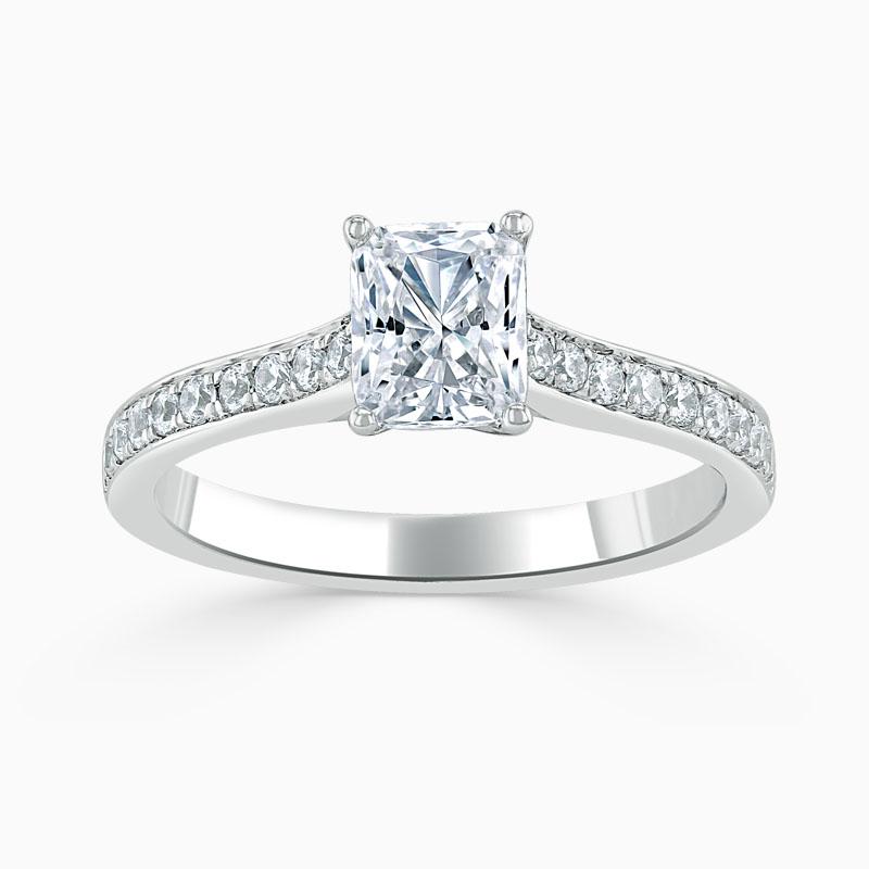 Platinum Radiant Cut Openset Pavé Engagement Ring