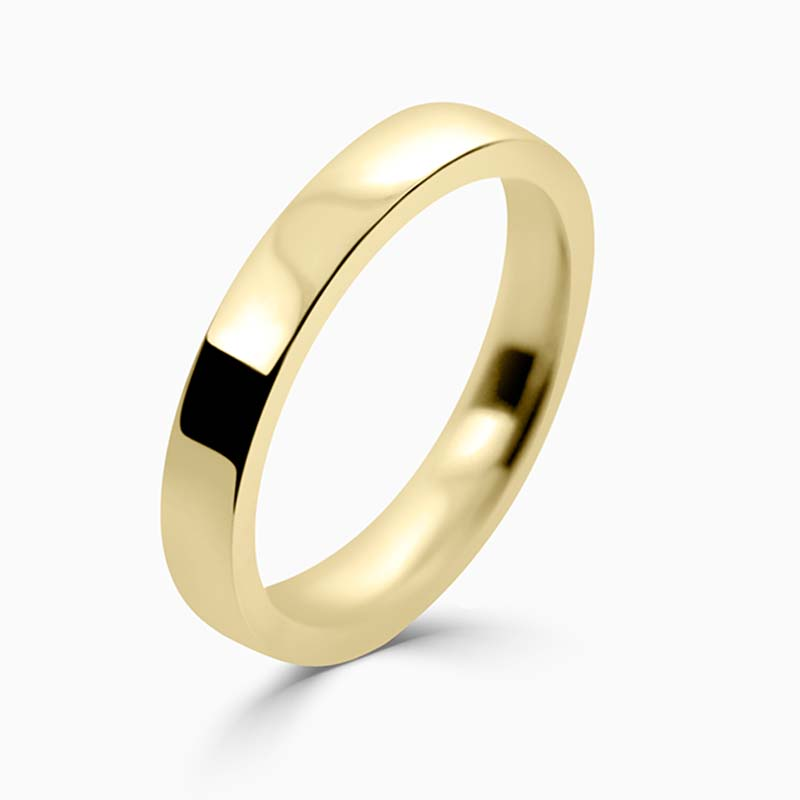 18ct Yellow Gold 3mm Flat Court Flat Edge Medium Weight Wedding Ring